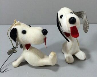 Vintage Snoopy Dog Ornaments, Set of 2  Tree Ornaments, Flocked Dog Ornaments, Hanging Ornaments