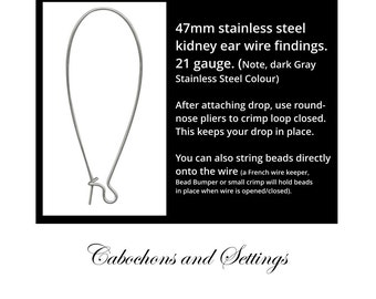 Stainless Steel Kidney Ear Wire, 47mm Imported from USA - AUSTRALIA