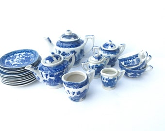 Miniature Tea set - Blue Willow Tea Set - Occupied Japan/Japan - Mix and Match 23 pieces