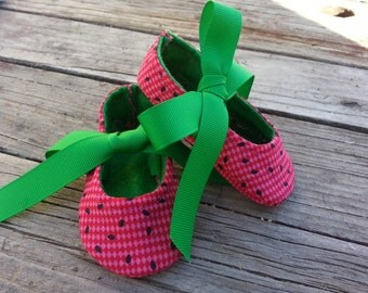 Watermelon summertime babygirl crib shoes