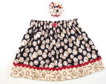 Baseball Skirt - Girls Skirt - Birthday Party - Little Sister Ballpark Outfit-Matching Fabric Flower Hair Clip Avail -  Size 3 mth to Adult