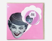 Bad Girl Large Badge Pink Lady Blank Eco Friendly Square Greeting Card