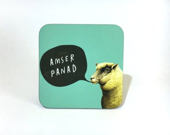 Melamine Coaster Amser Panad Welsh Tea Time Teal Sheep