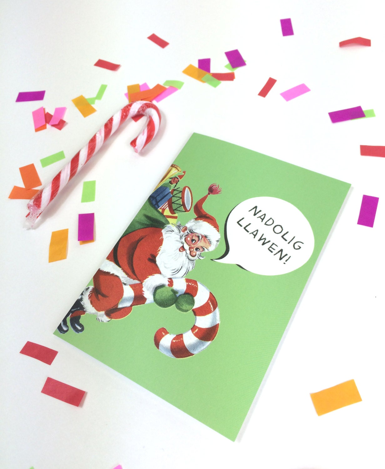Nadolig llawen welsh text merry christmas retro bright green santa nadolig llawen welsh text merry christmas retro bright green santa father christmas eco friendly greeting card kristyandbryce Images