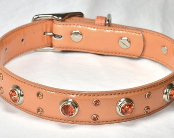SALE! Peach Patent Leather Dog Collar with Orange Crystals, Fancy Patent Leather Dog Collar, Orange Dog Collar, Sizes Medium to Large