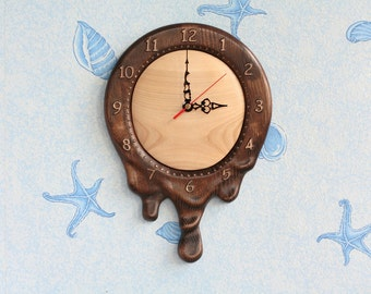 Wood wall clock Carved wall art Melted clock Unusual clock Unique clock Silent wall clock Silent clock Living room clock Living room decor