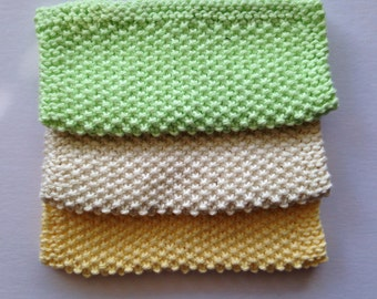 Knit Washcloths - 100% Cotton - Set of 2 - Bath or Kitchen - Luxuriously Soft - Pick Your Color
