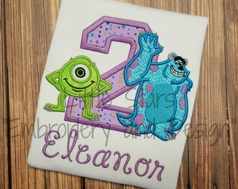 Girl Version of Monsters Inc. - Embroidered and Personalized Birthday Shirt - You Choose Number
