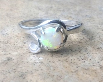 Opal ring - genuine natural Opal 6mm round ring -  (October Birthstone)- in Sterling Silver or Gold