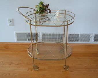 Refurbished Mid Century Modern Brass and Glass Bar Beverage Tea Cart