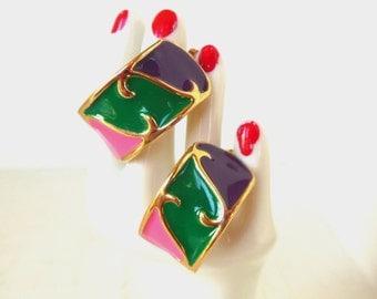 Vintage Pierced Earrings Hoop Pink Purple Green Gold Enamel 80's (item 150)