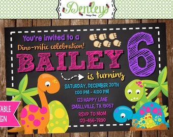 Dinosaur Birthday Invitation (DI03)
