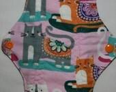 Kiki Mama Cloth Menstrual Pad Size Regular with Gray Orange Cats