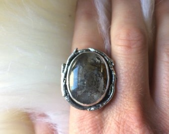 Dendritic Agate Ring Sterling silver Twig Dendritic ring Large stone ring Organic Ring Size 8.5