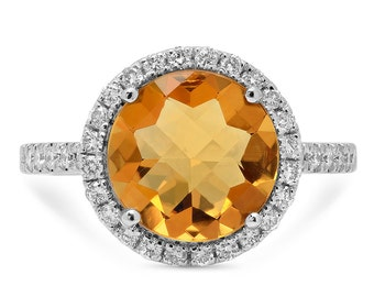 Diamond Halo Citrine Ring in 14k White Gold, Solitaire Citrine 14k White Gold Ring | ready to ship!