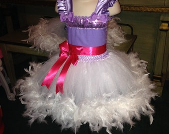 Customized Daisy feathered tutu dress