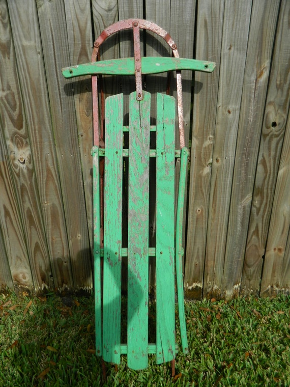 Vintage sled rustic iron and wood antique sled christmas decor for Antique sled christmas decoration