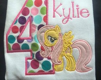 Fluttershy Pony birthday Shirt, My little Pony, Personalized Shirt, Embroidered, Appliqued, Monogrammed