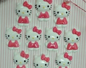 MOVING SALE 10 Hot Pink Girl Cat Flat Back Embellishments / Kitty Flat Backs W/ Bow / 20 x 30mm.