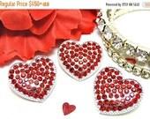 ON SALE Valentine's Day Heart RED Glass Rhinestone Ribbon Sliders Crystal Ribbon Sliders Metal Embellishment Scrapbooking flower centers 22m