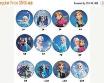 Moving Sale 12 PCS Frozen Elsa Anna 30MM Princess Resin Printed Flatback Button For Hair Bow Center