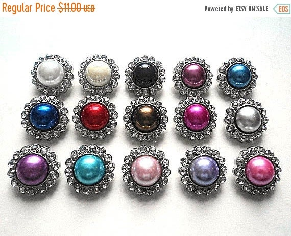 ON SALE 10 Rhinestone Pearl Buttons Plastic Acrylic Pearl Rhinestone Buttons-TRY Me Sample Pack Buttons-26mm 3185P.