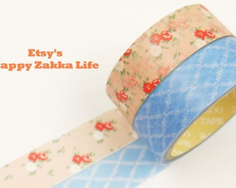 Japanese Washi Masking Tape Box Set - Pink Flora and Blue Check - 2 rolls - 5.5 Yards (each roll)