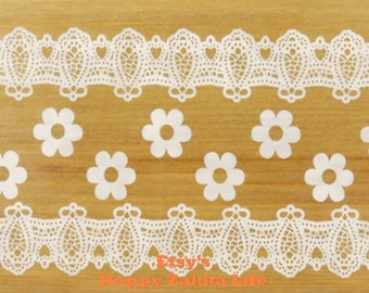 Translucent Wide Sticker Tape - White Lace Vol. 2 - Ver. 4 - 48mm Wide - 16 Yards