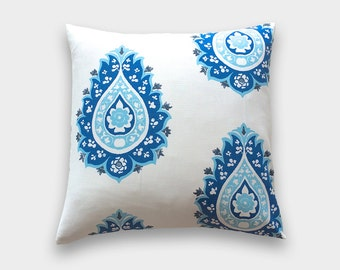 Cobalt Blue Damask Throw Pillow Cover. 16X16 Inches. Royal Blue Damask. Decorative Pillow Cover.