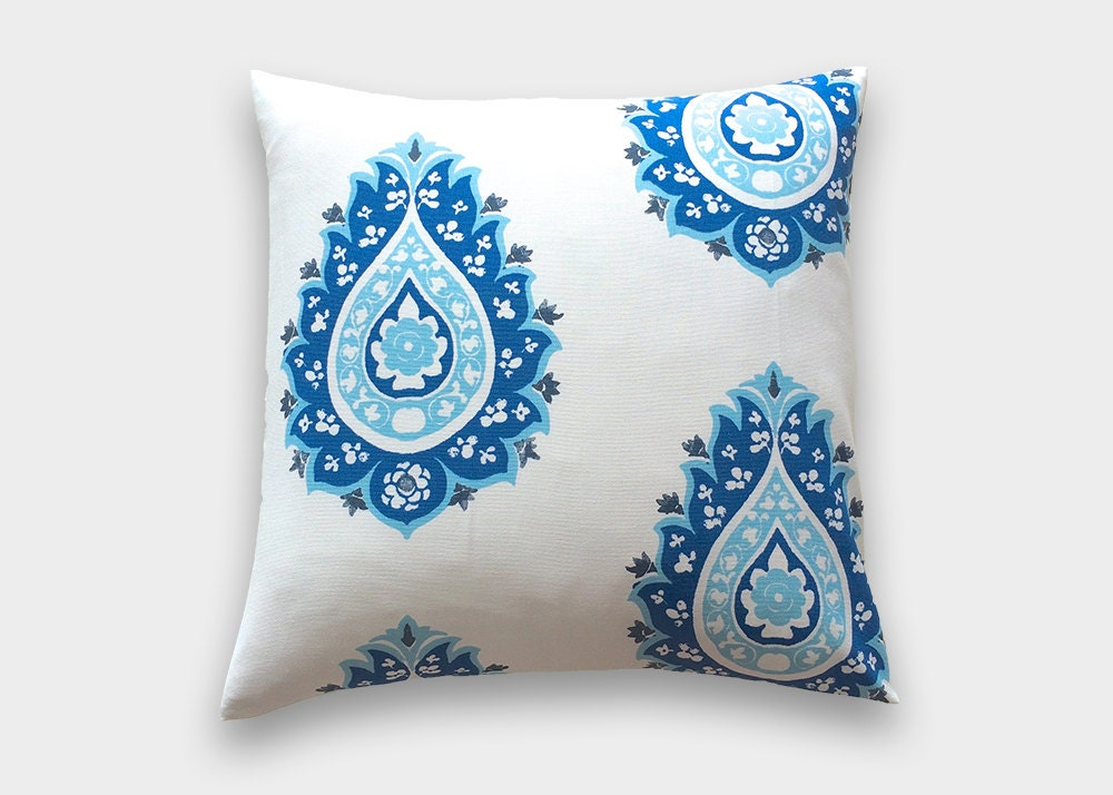 Cobalt Blue Throw Pillow Covers : Cobalt Blue Damask Throw Pillow Cover. 16X16 Inches. Royal