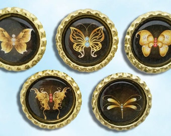 Gold Butterflies, butterfly magnet, refrigerator, party favor, magnet board,  Bottle cap magnets