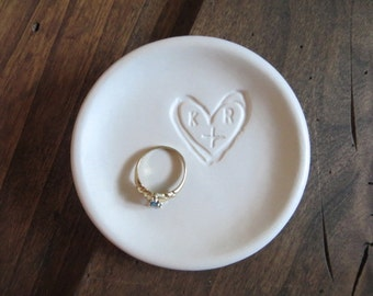 ring holder, Wedding ring dish, Engagement Present, You Plus Me initial tray, Matte White Glaze,  Made to Order