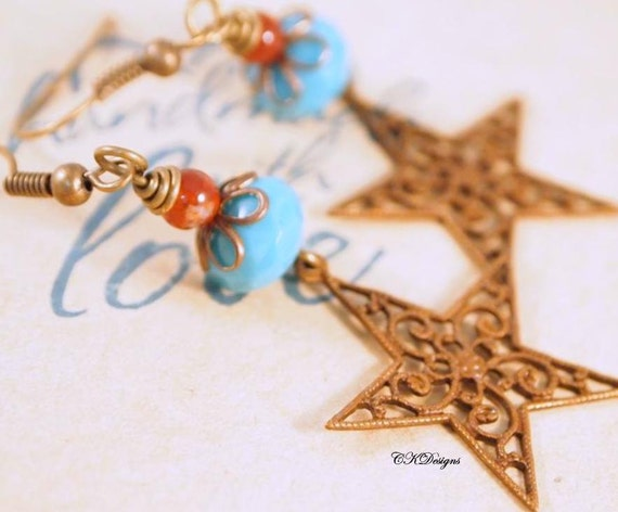 Brass Star Beaded Earrings, Southwestern Earrings, Czech Glass Beaded Pierced or Clip-onEarrings, Gift for Her, OOAK Handmade earrings.