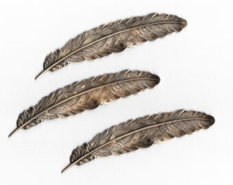 3 Pcs. Antiqued Brass Feather Stampings with Exceptional Detail