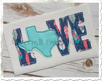 Raggy Applique Texas Love Machine Embroidery Design - 4 Sizes