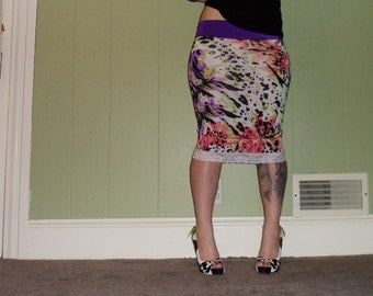 Paradise - An Exotic Floral Pencil Skirt
