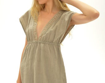 Pure Linen Short Nigh Gown With Antique laces