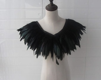 "28"" long  Burlesque Black rooster coque feather Collar Shrug Cape"