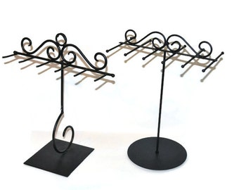 Set of TWO Black Wrought Iron Type Jewelry Display Stands Discount Jewelry Displays Necklace Display Jewelry Storage