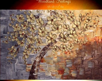 """Sale XL Oil Landscape painting Abstract Original Modern 36"""" palette knife Gold Blossoms oil impasto oil painting by Nicolette Vaughan Horner"""