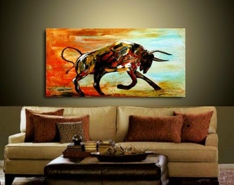 XLarge Abstract painting,Original comtemporary Art,Bull,Animal, Ready to hang  by Nicolette Vaughan Horner 48x24