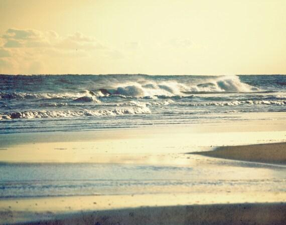 Beach Photography | Photography Art Prints | Beach House Decor | Golden Sunset Over Ocean Waves Outer Banks NC | Beach Life Gifts | Hatteras
