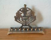Vintage Brass Menorah Shalom Grapes Israel Judaica Chanukah Hanukkah Candle Holder