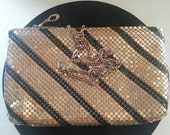 NOW ON SALE Vintage Gold & Black Metal Mesh Clutch Purse ** Mad Men Mod Mid Century Modern Collectible Handbag ** Made In Hong Kong **