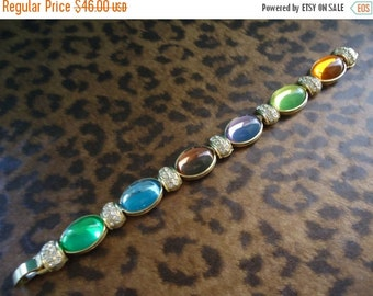 Christmas In July Sale Vintage Retro Collectible Bracelet 1950's High End Designer Signed Park Lane Rhinestone Jewelry