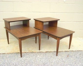 2 Mid Century 2 Tier Step Back Side Tables   Retro Atomic End Tables Peg  Legs