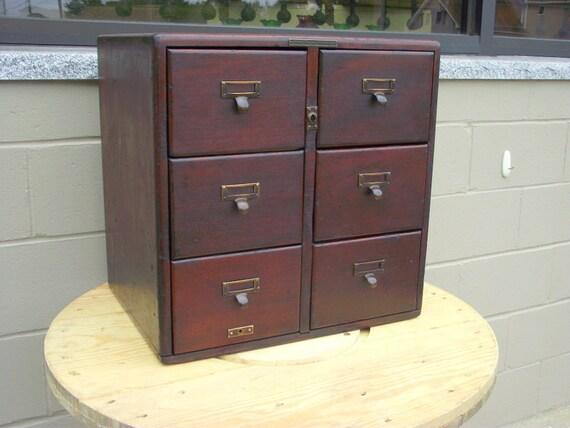 card catalog 6 drawer antique solid mahogany 5x8 postcards. Black Bedroom Furniture Sets. Home Design Ideas