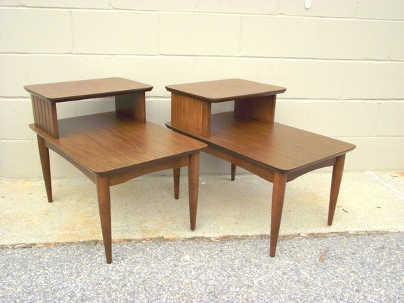 2 mid century 2 tier step back side tables retro atomic end. Black Bedroom Furniture Sets. Home Design Ideas