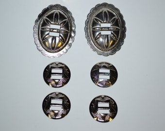 2 Silver Ovals and 4 Round Shaped Conchos Set of 6