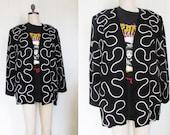 Black and White Boxy 80's Oversized Baggy Abstract Geometric Blazer Jacket